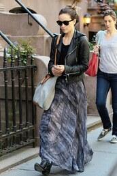 jacket,skirt,maxi skirt,olivia wilde,biker jacket,ankle boots,shoes