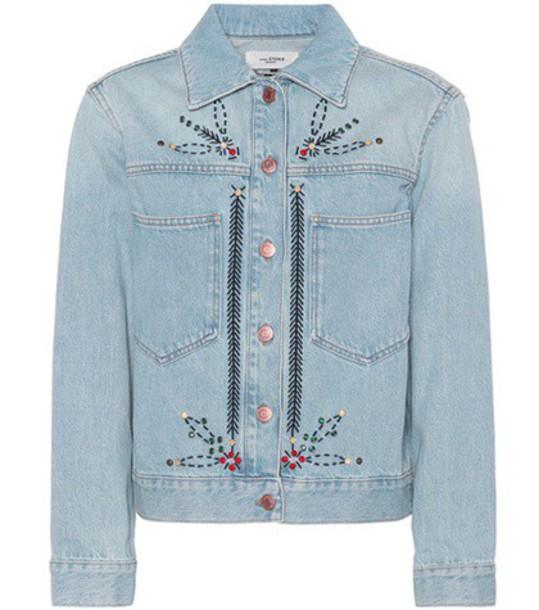 Isabel Marant, Étoile Cabella embellished denim jacket in blue
