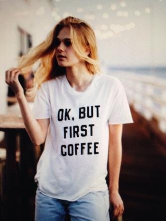 t-shirt brandy melville coffee latte lover starbucks coffee cute white girl blonde hair lights fashion jeans ️style boy pants