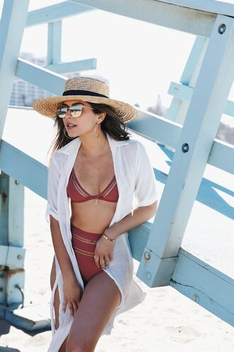 swimwear hat tumblr swimwear two piece bikini bikini top bikini bottoms shirt white shirt sun hat