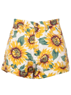 Sunflower print high waist denim shorts in white
