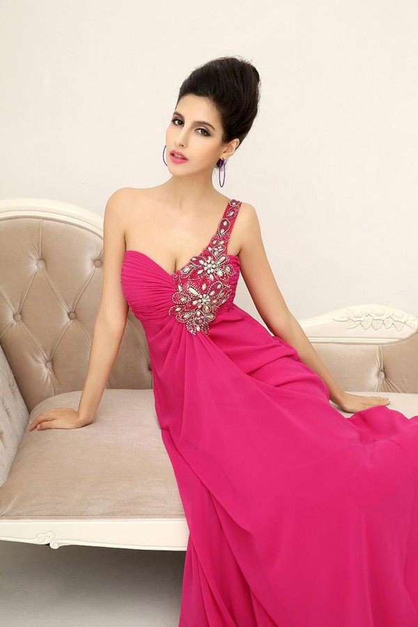 rose dress fuchsia dress dress prom dress summer dress sale dress 2014 dress 2015 dress cheap dress one shoulder dress