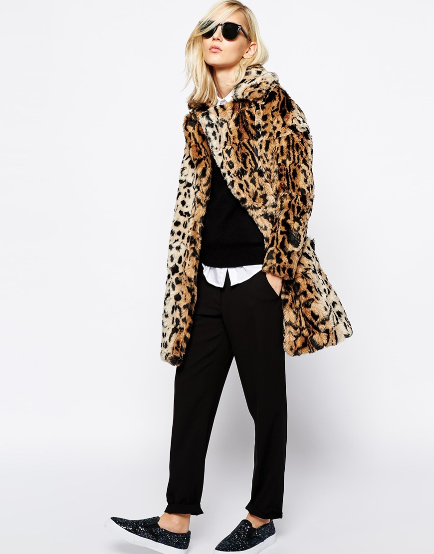 River Island Faux Fur Leopard Jacket at asos.com