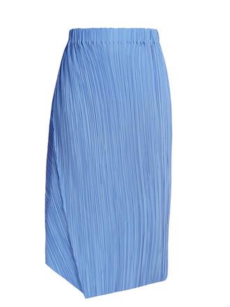 skirt pleated silk blue
