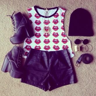 shirt t-shirt lips red shorts shoes edgy sunglasses lip print tank top hat jewels top