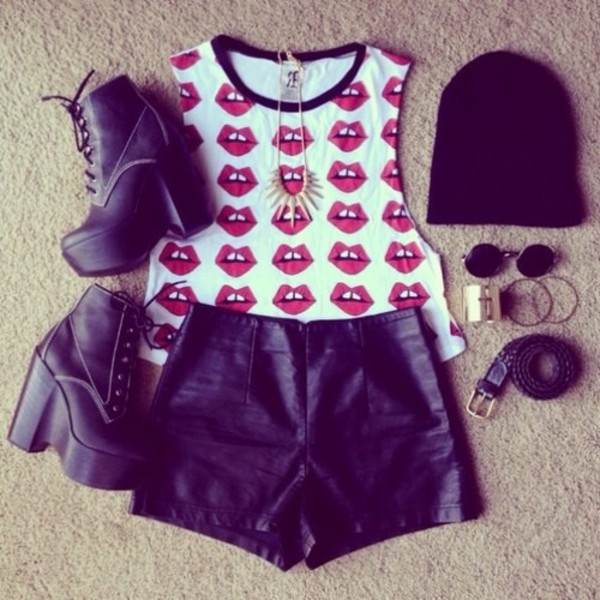 shirt t-shirt lips red shorts shoes edgy sunglasses lip print tank top hat jewels top