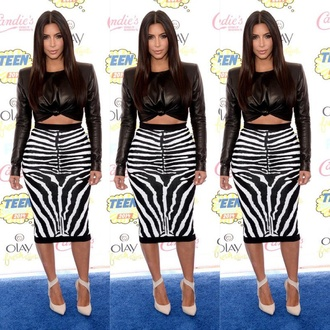 kim kardashian crop tops leather midi skirt top skirt bodycon dress bodycon skirt bodycon vue boutique leather crop top black leather crop top zebra print kim kardashian dress