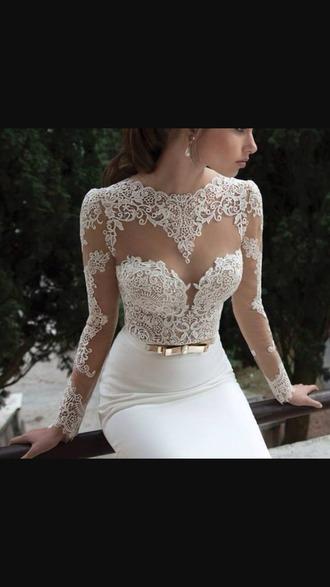 dress white lace dress long sleeves