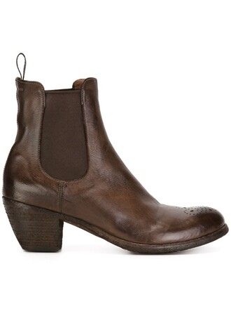 heel women boots ankle boots leather brown shoes