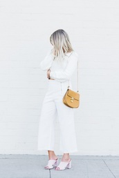 devon rachel,blogger,sweater,pants,bag,shoes,sunglasses,work outfits,cropped pants,white pants,nude bag,white shirt,all white everything,mules