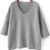Grey V Neck Long Sleeve Loose Knit Sweater - Sheinside.com