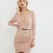 Mid pink long sleeve wrap front bodycon dress