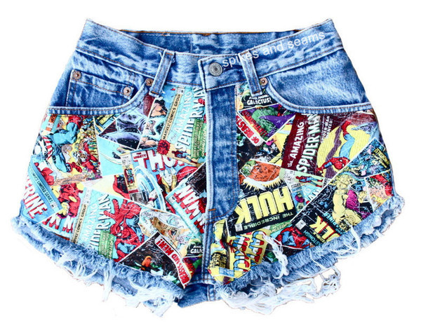 shorts comic book print hipster acid wash sway