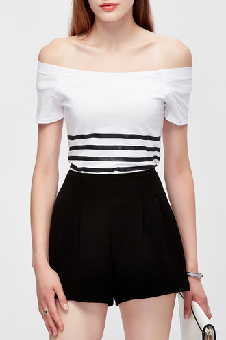 top white summer off the shoulder stripes fashion black and white casual dezzal