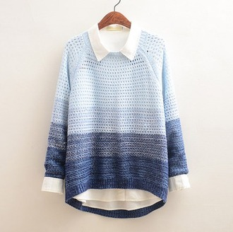 sweater blue ombre cozy warm fall outfits winter outfits fashion style cute gradient knitwear long sleeves pullover tomboy