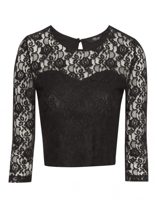 Black all over lace crop top