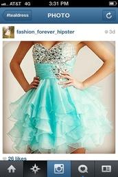 dress,teal dress,sparkling dress,teal