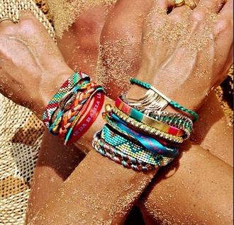 jewels jewelry bracelets boho hipanema bracelets multicolor gold gold bracelet gold jewelry hippie