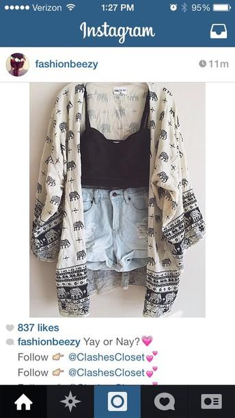 jacket elephant pattern kimono
