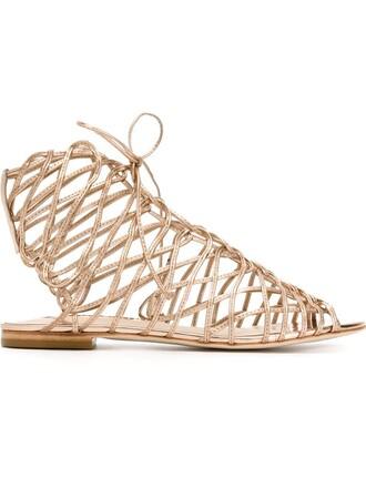 sandals lace metallic shoes