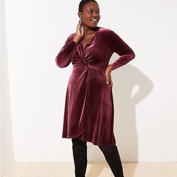 LOFT Plus Velvet Knot Wrap Dress