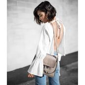 top,tumblr,white top,open back,backless,backless top,bell sleeves,bag,grey bag,chloe,chloe bag,chloe faye bag