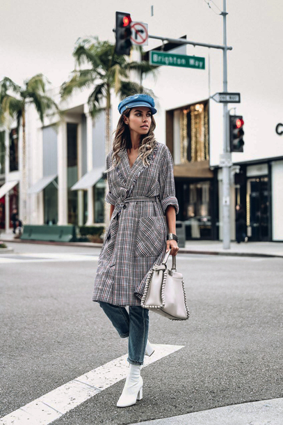 coat tumblr grey coat plaid plaid coat hat viva luxury denim jeans boots white boots bag