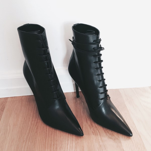 YANG LI Leather Lace Up Boots eeMHMx