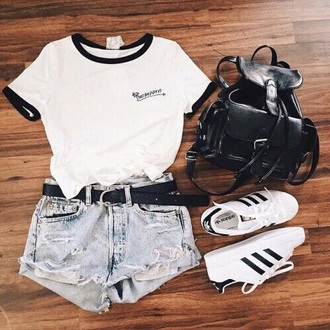 t-shirt cute style tumblr black white shorts