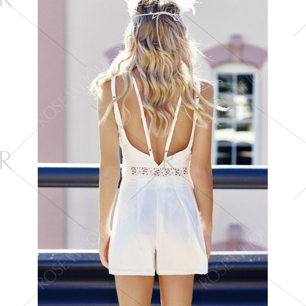 Women's Spaghetti Strap Backless Hollow Out Romper