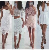 white dress,lace dress,crop tops,lace top,lace skirt,pink dress,salmon,lace up flats,nude heels,sandals,crochet,crochet dress,lace,bodycon,bodycon dress,party dress,sexy party dresses,white,sexy,sexy dress,party outfits,sexy outfit,summer dress,summer outfits,spring dress,spring outfits,pool party,fall dress,fall outfits,classy dress,elegant dress,cocktail dress,date outfit,cute,cute dress,girly,girly dress,birthday dress,summer holidays,romantic,romantic dress,romantic summer dress,clubwear,club dress,wedding dress,wedding clothes,wedding guest,graduation dress,celebrity style,dope