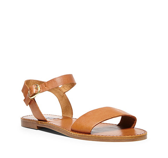 Silver   Black Flat Leather Sandals