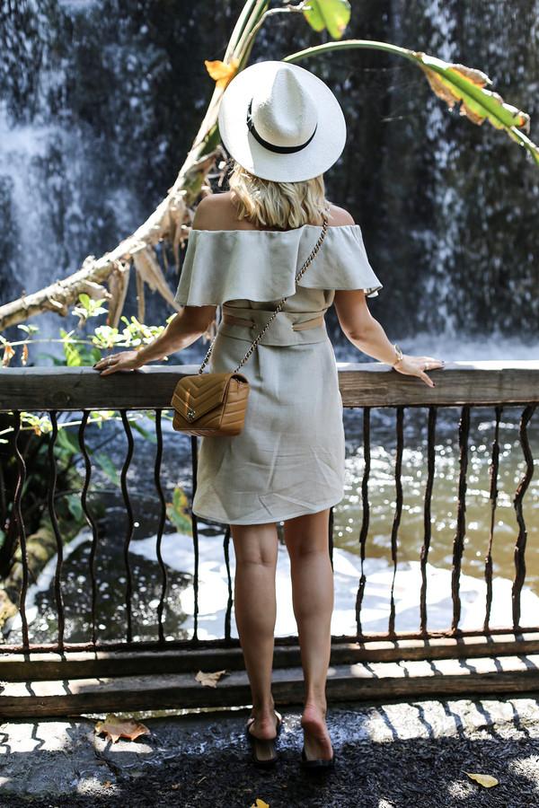dress hat tumblr grey dress mini dress off the shoulder off the shoulder dress bag brown bag sun hat