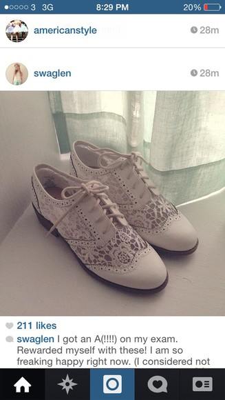shoes lace brogues cream crochet white beautiful