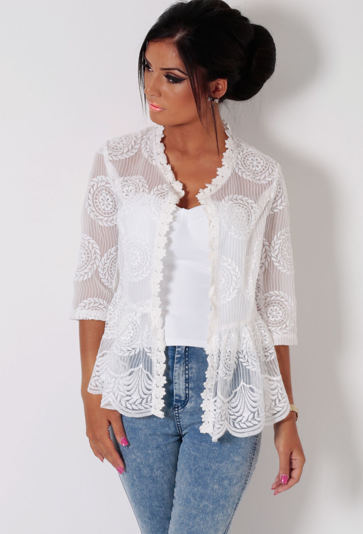 Rica white floral lace peplum jacket