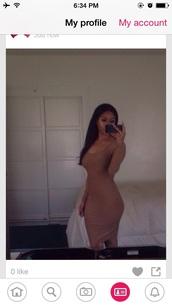 dress,nude,beige,brown,bodycon dress,bodycon,long sleeve dress,long dress