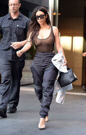 top,mesh,see through,pants,kim kardashian,kardashians,sunglasses,NY Fashion Week 2016,streetstyle,tank top,bodysuit