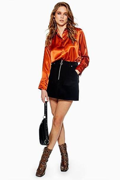 TopShop Corduroy Zip Skirt - Black