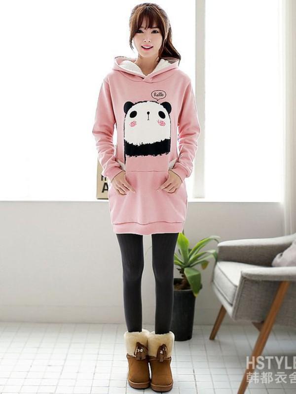 Sweater Korean Fashion Kstyle Long Panda Hoodie Girly Cute Sweet Hello Japanese Warm