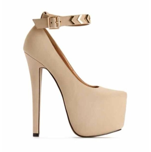 Shoes: nude, nude high heels, high heels, cute high heels, cream ...