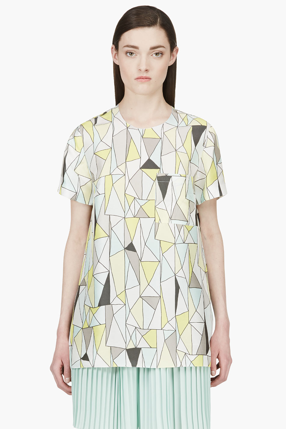 roksanda ilincic grey and yellow silk geometric baynes t_shirt