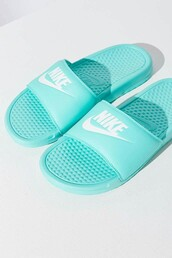 shoes,torquoise nike benassi jdi sandals,woman nike sandals,torquoise