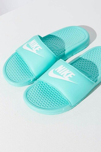shoes torquoise nike benassi jdi sandals woman nike sandals torquoise