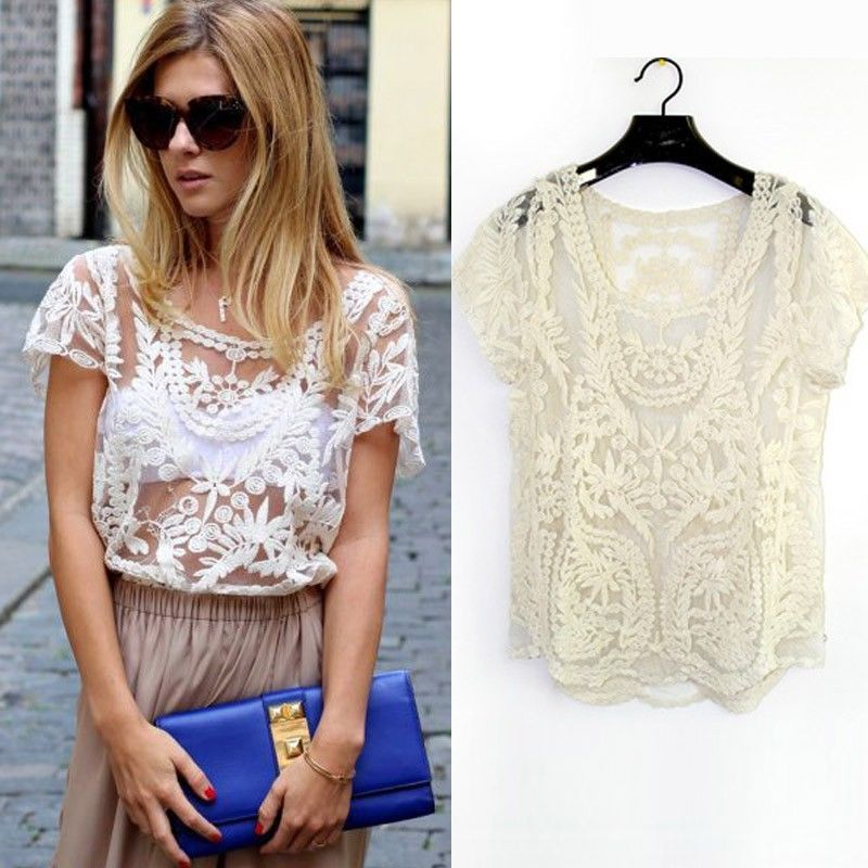 Womens lace crochet sexy sheer short sleeve embroidery t shirt tops clubwear