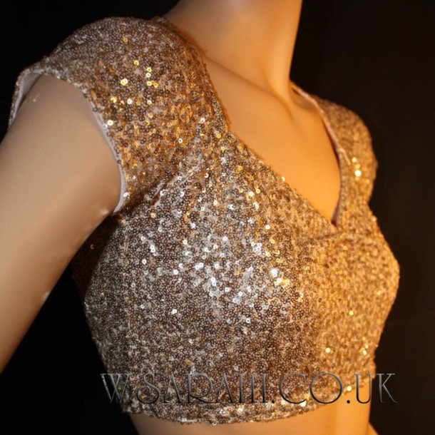 shirt gold sequin crop top