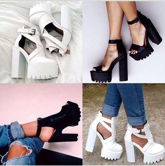 shoes black heels platforms white
