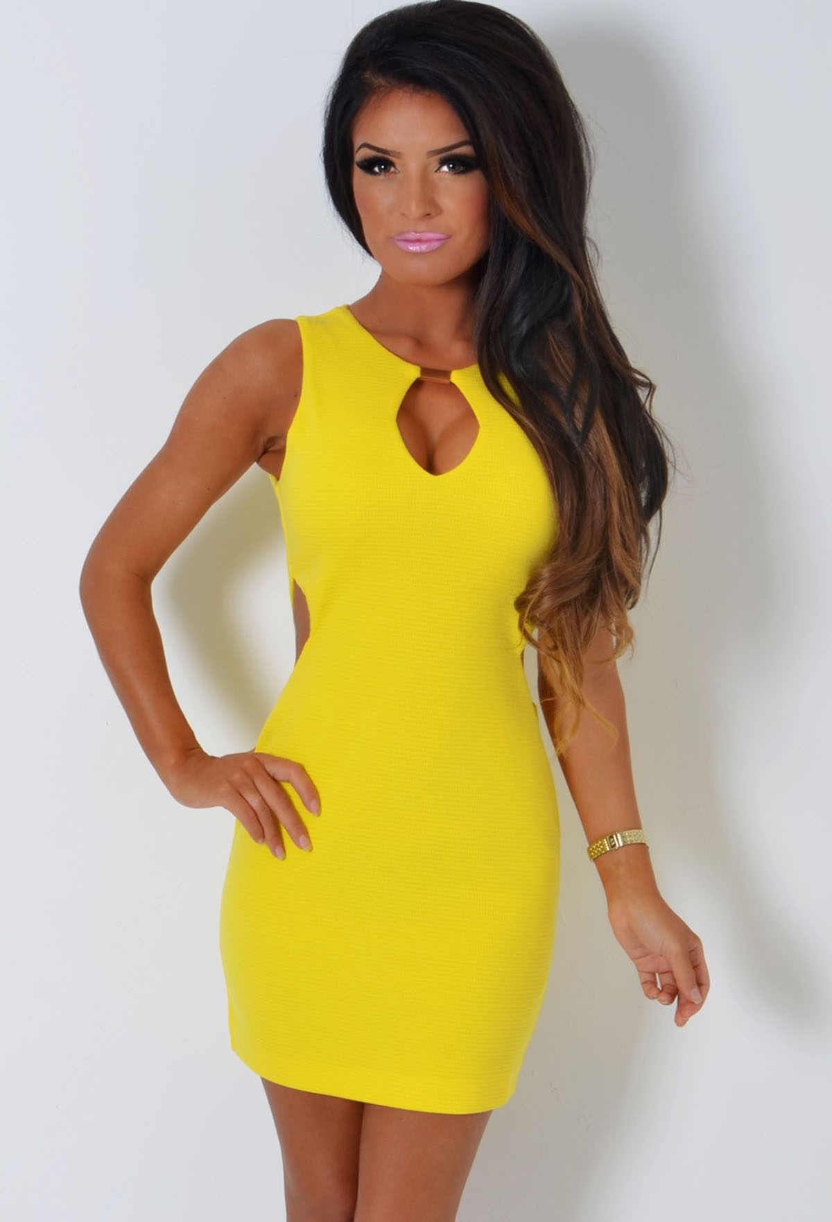 Leonore buttercup yellow bodycon cut out side mini dress