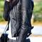 Womens shoulder pads quilted genuine sheepskin leather black biker coat jacket   ebay