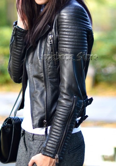 Shoulder Pads Quilted Genuine Sheepskin Leather Black Biker Coat ...