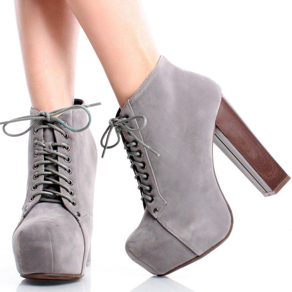 Suede Lace Up Women Chunky Heel Hidden Platform Ankle Booties | 58392